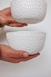White ceramic dish set Ceramic salad bowl Pottery cereal bowl Ramen bowl Soup bowl Stoneware Serving Bowls Handmade dinnerware set