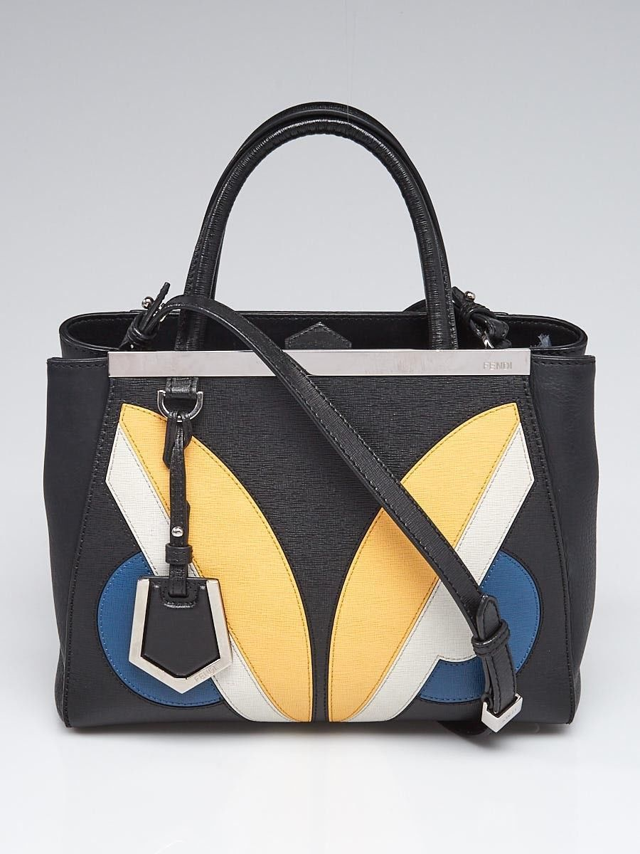 Fendi Black Saffiano Leather Monster Eyes Petite Sac 2jours Elite Tote Bag  8BH25 b9c5516139f1b