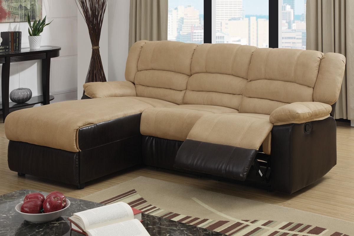 2 Pc Greenbrooke Collection 2 Tone Hazelnut Microfiber And Brown Bonded  Leather Sectional Sofa With Left Side Chaise And Recliner Chair
