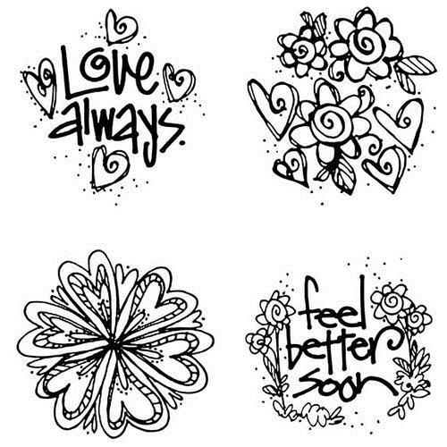 "Cling mount stamp set including four stamps between 2"" and 2½"""