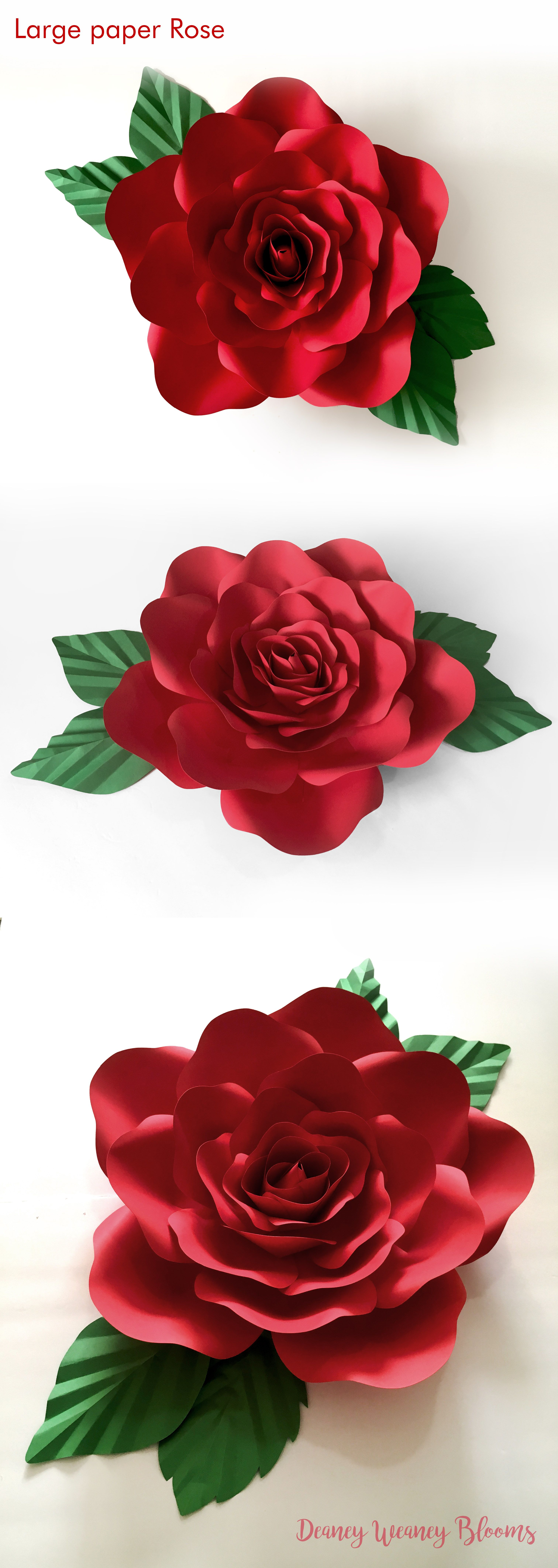 Large Paper Rose SVG and PDF Printable Template Large giant DIY