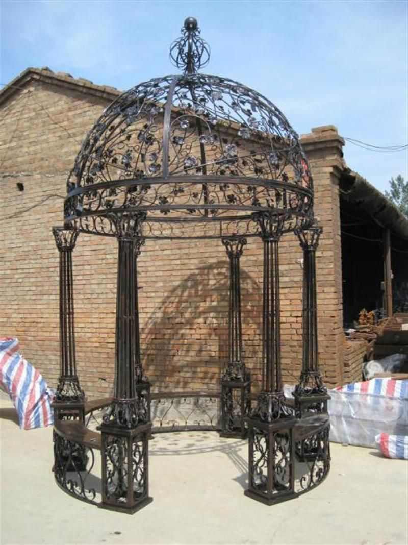 Intricate Leaf Design Cast Iron Victorian Style Garden Gazebo With Wrought Iron Domed Top 165 Tall Victorian Gazebo Garden Gazebo Gazebo