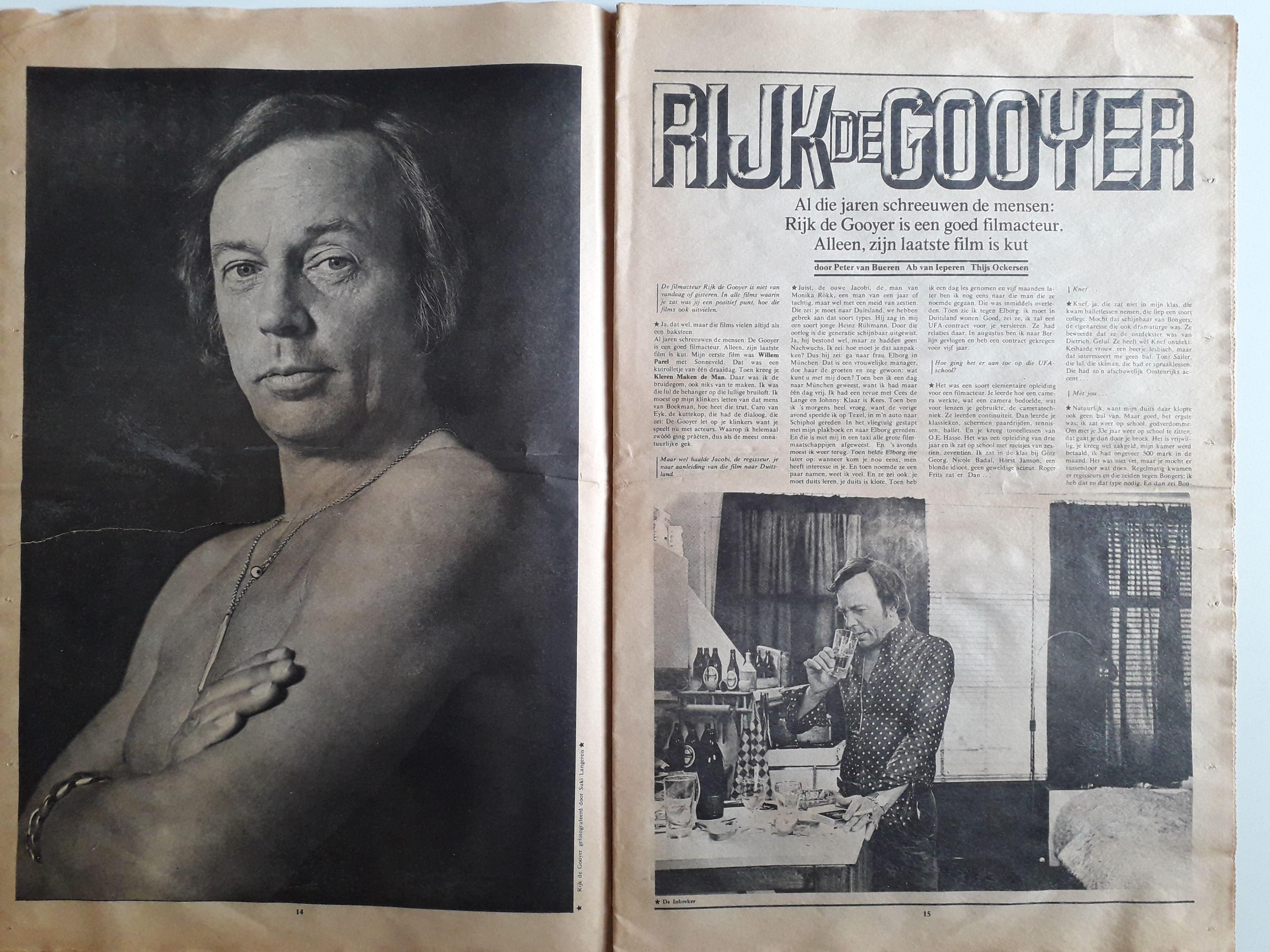 De Inbreker Interview Met Rijk De Gooyer In Filmfan 1972