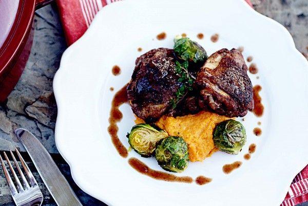 Spiced Coq au Vin {red wine braised chicken}