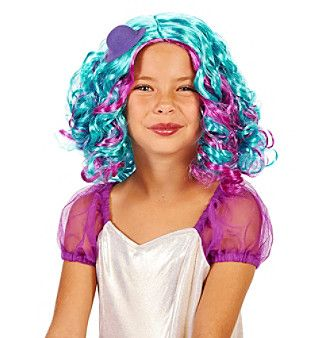 Blue and Purple Pastel Child's Wig with Hat