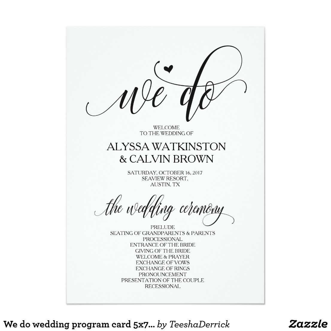 We Do Wedding Program Card 5x7 Modern Design V3 Zazzle Com Wedding Programs Wedding Program Design Wedding