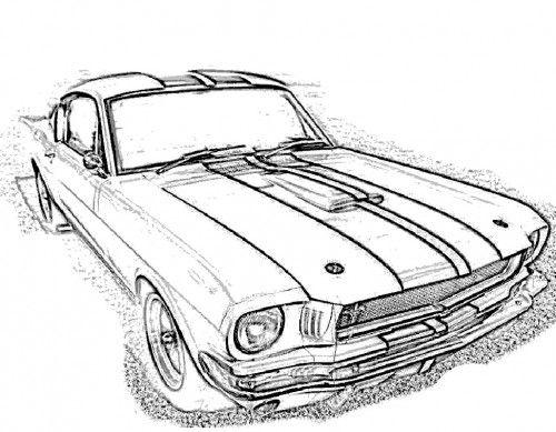 racing car mustang gt350 coloring page