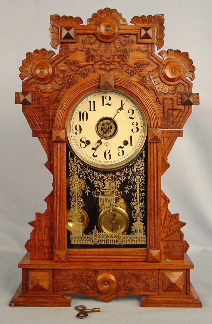Gilbert Forrest Clock Burl Leaves Ca 1891 25in Vintage Clock Clock Old Clocks