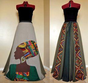 La Nubienne - Long Tribal Hippie skirt, African Patchwork Boho skirt, Ooak Appliqued Ethnic skirt, Can fit S to XL #kitengedesigns