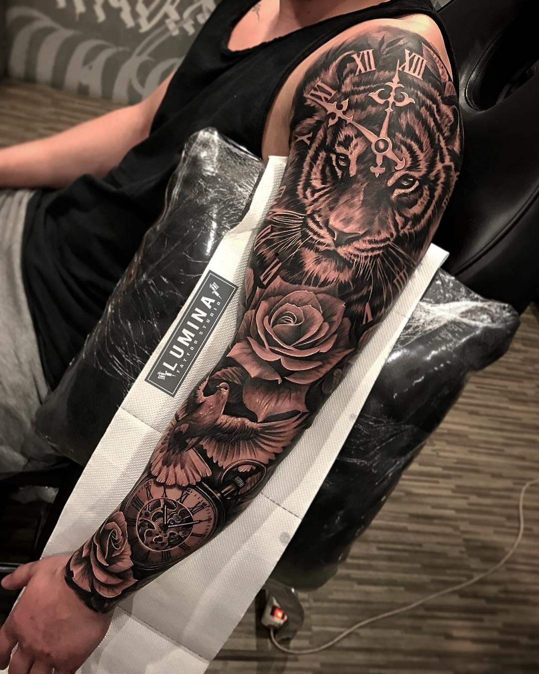 Pássaro Sleeve tattoos, Tattoos, Tiger tattoo sleeve