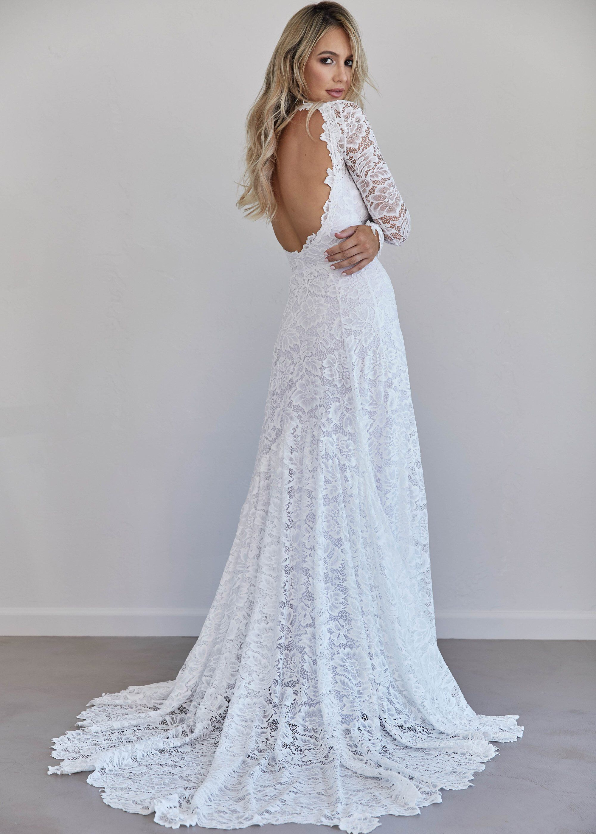 Open back wedding dress long sleeve wedding dress sweetheart
