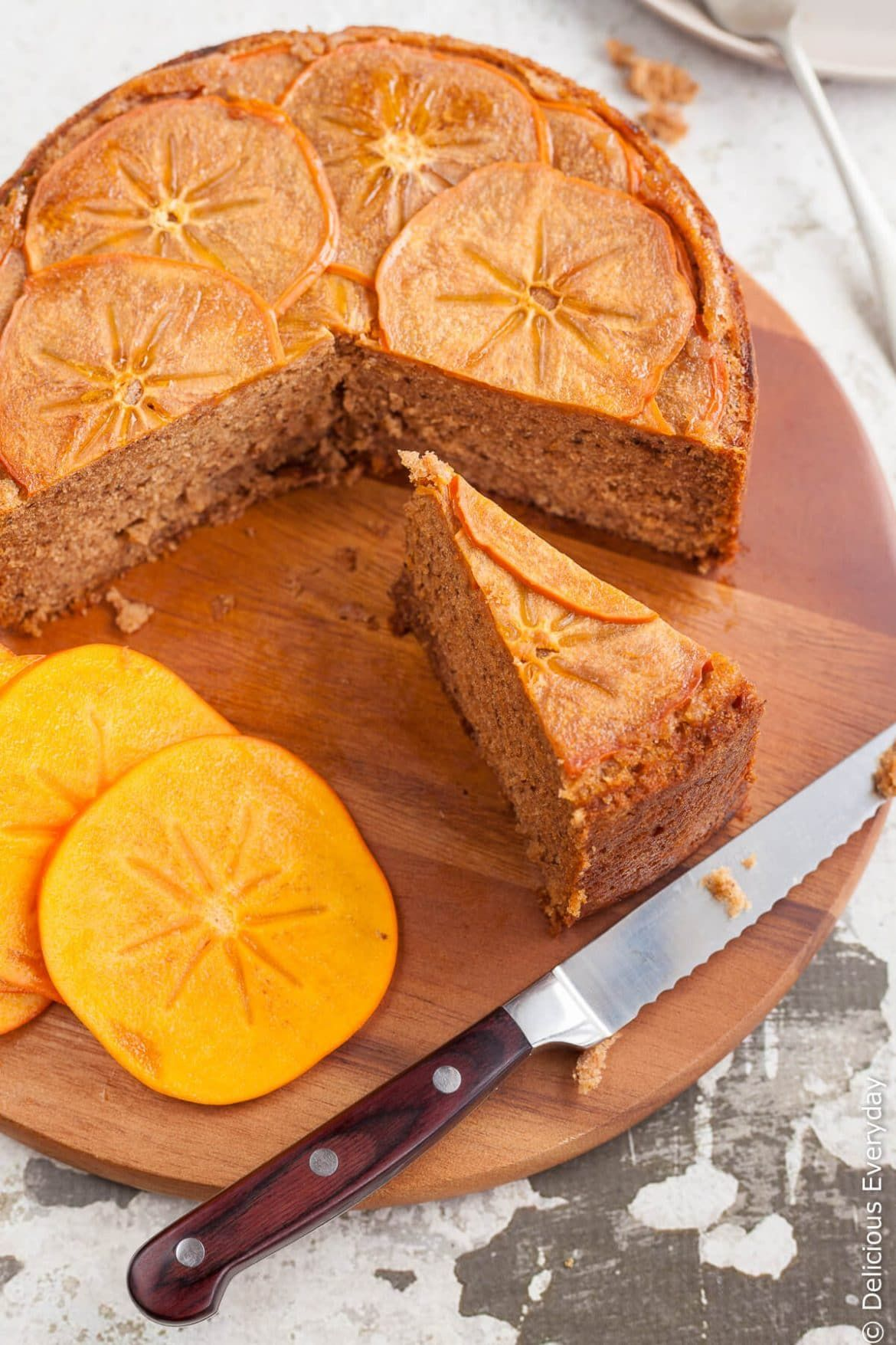 Upside Down Persimmon Cake With Maple Syrup And Walnuts -