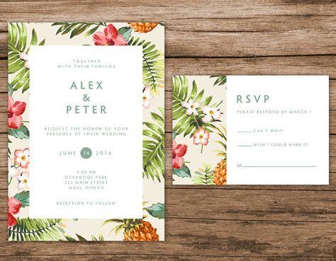 tropical wedding invitation hawaiian invitation destination