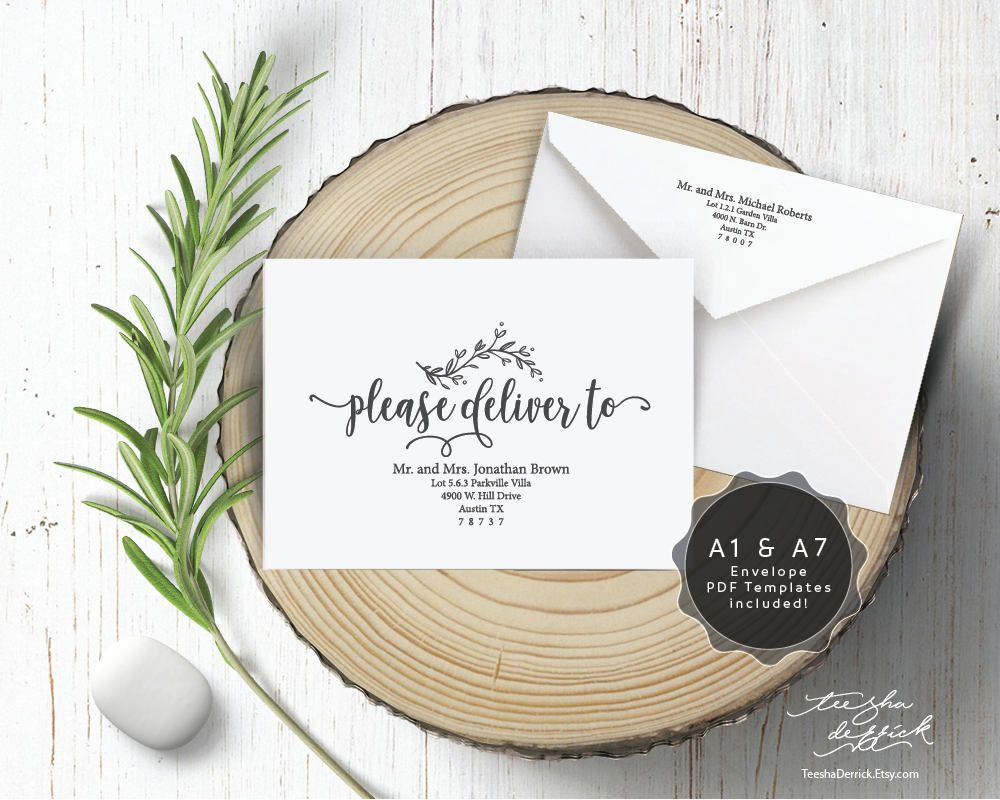 Editable Envelope template (please deliver to) Instant