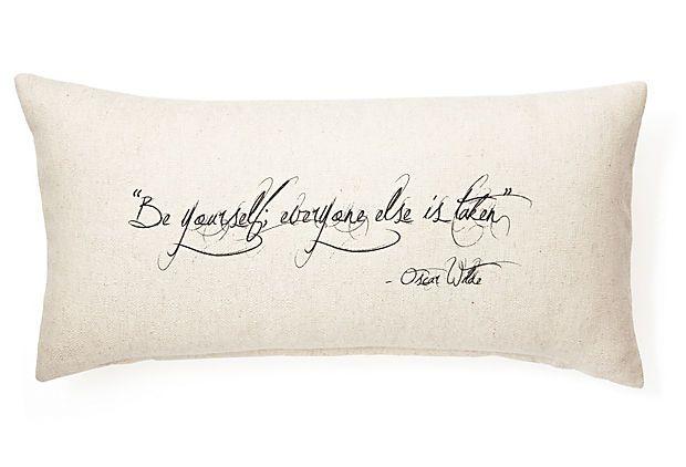 "One Kings Lane - Pillow Talk - Wilde ""Be You"" 12x24 Pillow, Natural"