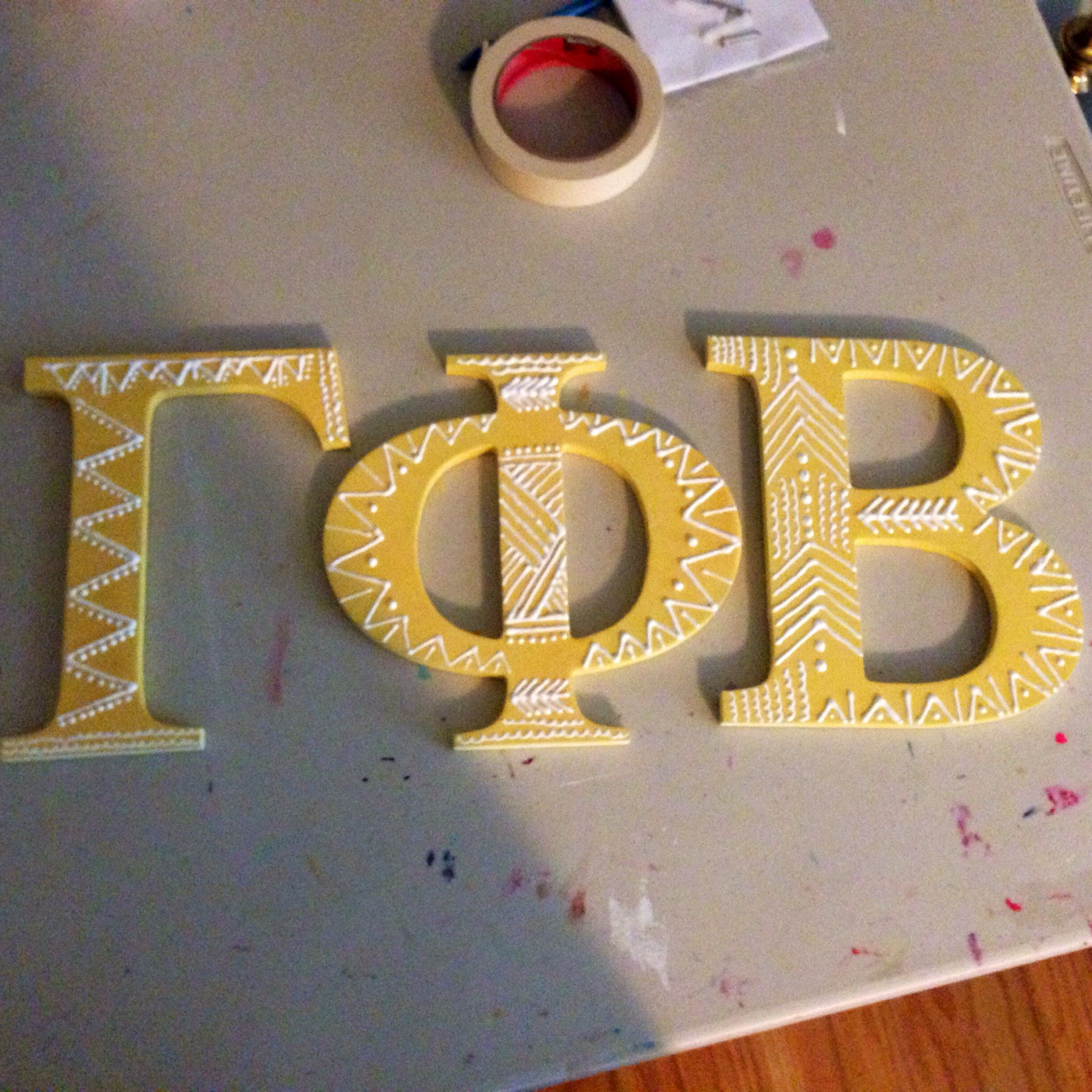 Gamma Phi Beta Sorority 7.5 Inch Unfinished Wood Letter Set Gamma phi