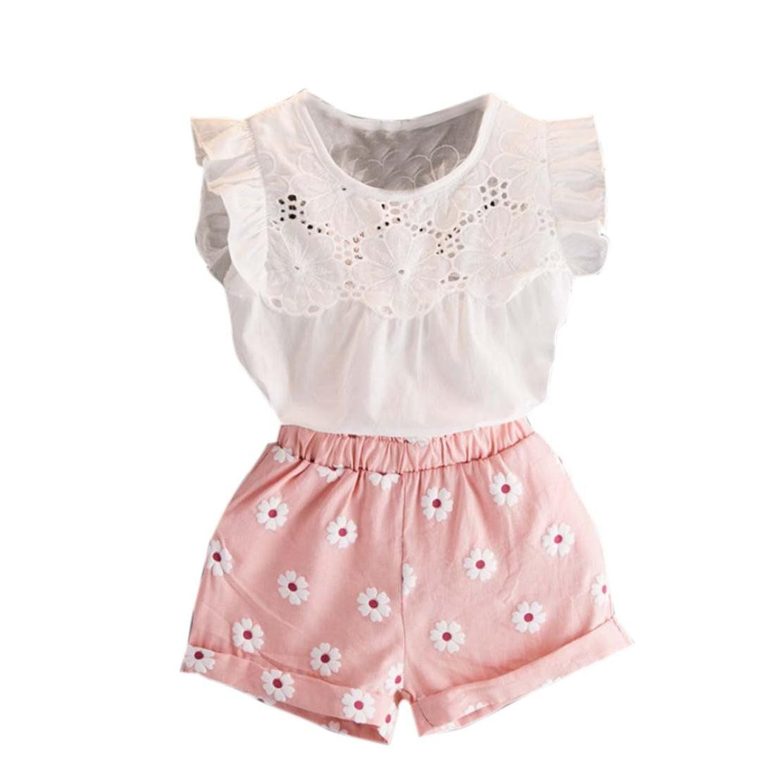 2Pcs Sets Baby Girl Outifts Toddler Clothes Fashion Kids Off Shoulder Top Mini Skirt 2-7 Years
