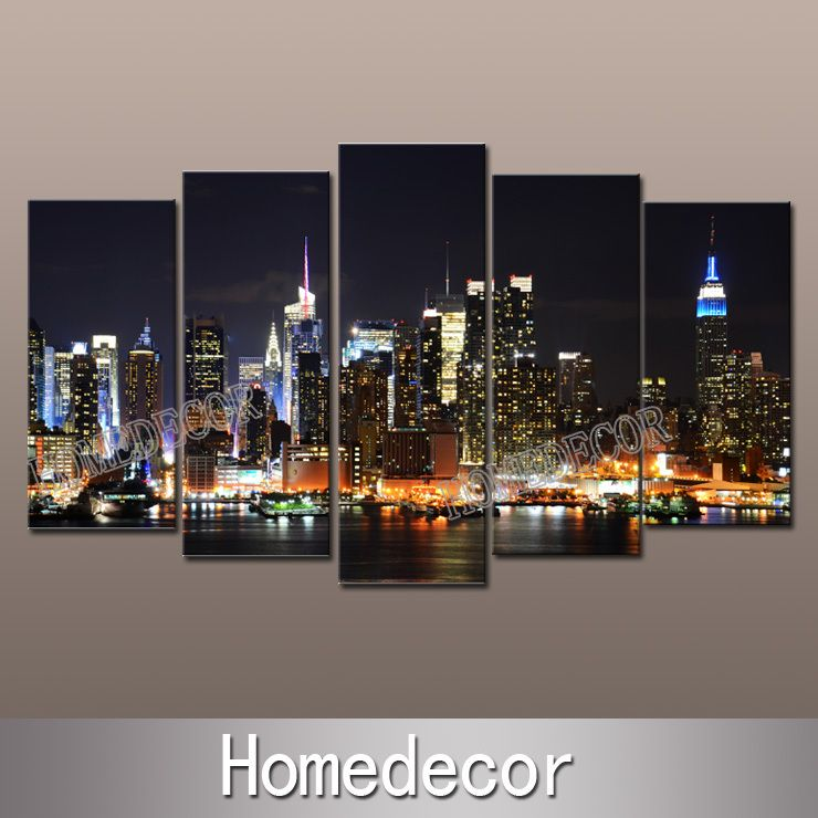 Large usa new york city buildings at night art canvas picture printing modern wall canvas painting home decorationchina mainland