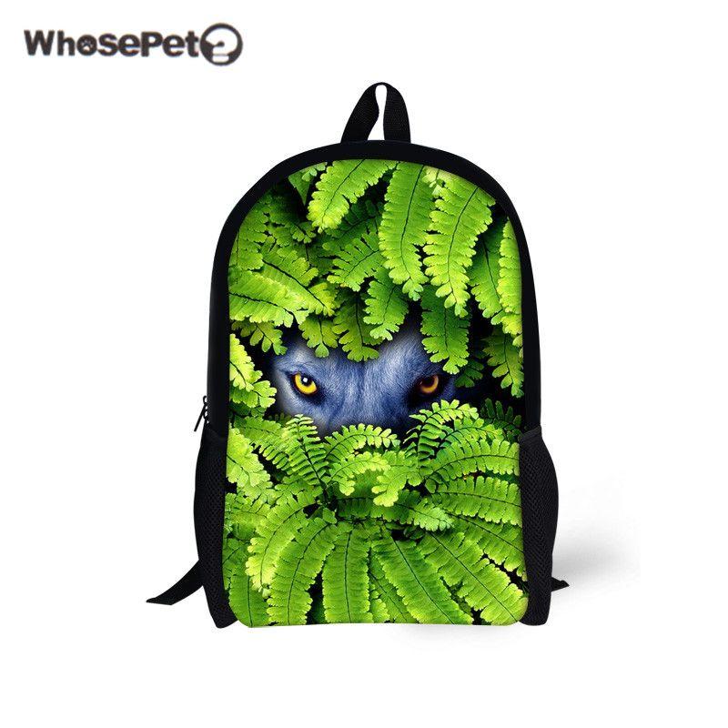 Boys Cool Wolf Backpack Schoolbag Junior School Messenger Bag Children Bookbag