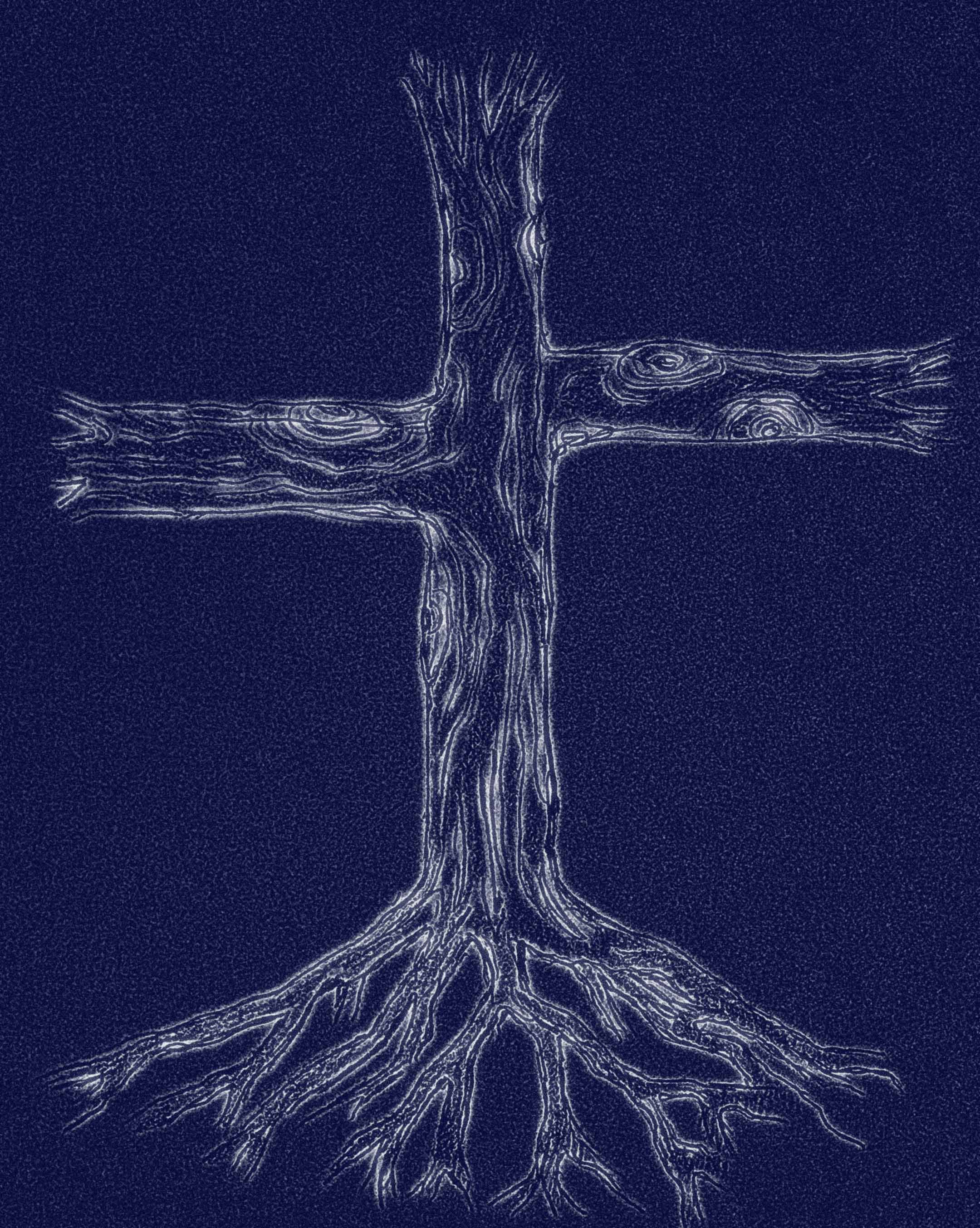 tree and roots cross