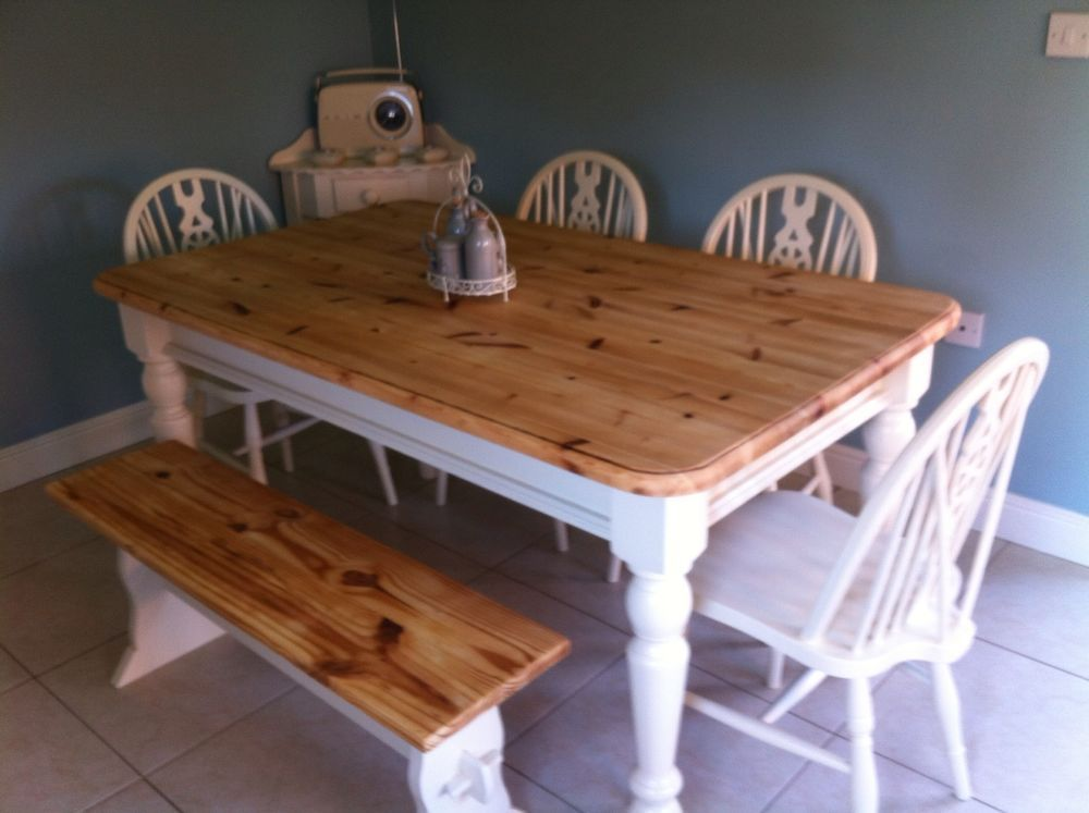 Shabby Chic Chunky Pine Farmhouse Table And 4 Chairs Bench Laura Ashley White