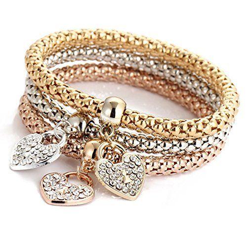 Fashion Women 3Pcs Gold Silver Rose Gold Bracelets Set Rhinestone