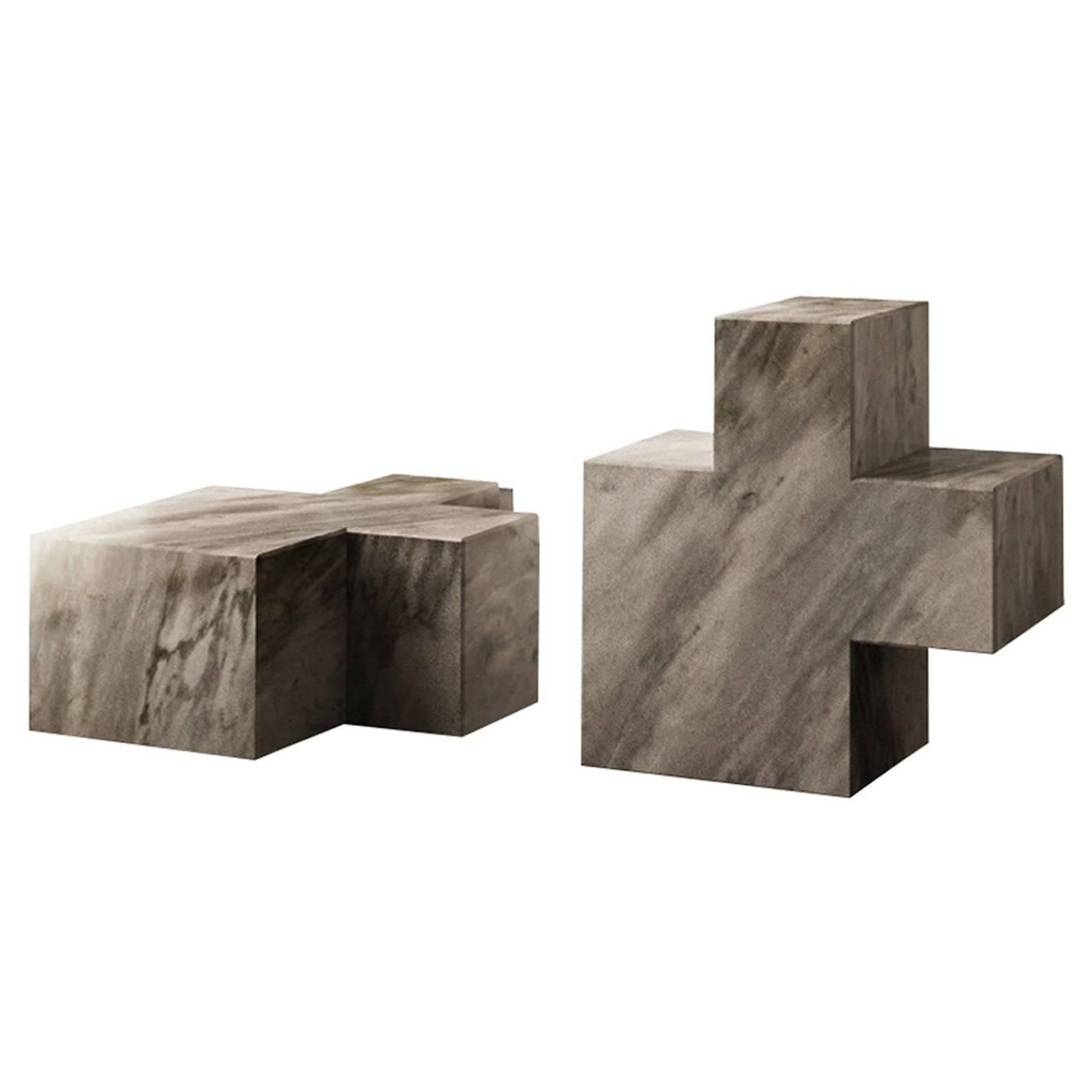 Two Q3 Elements Bardiglio Sculptures 1