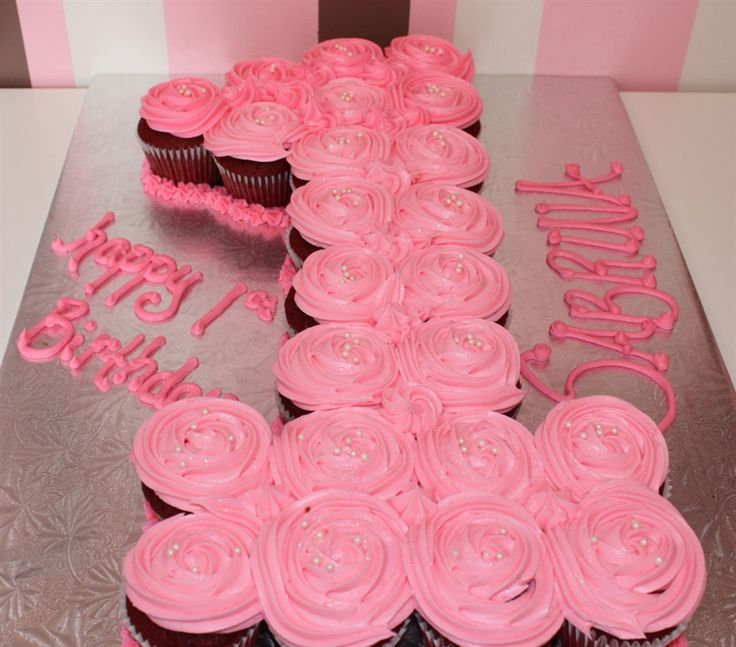 Image result for cupcake cake shaped like number one 1st birthday