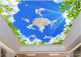 عکس آسمان مجازی 3d wallpaper ceiling, Mural wallpaper