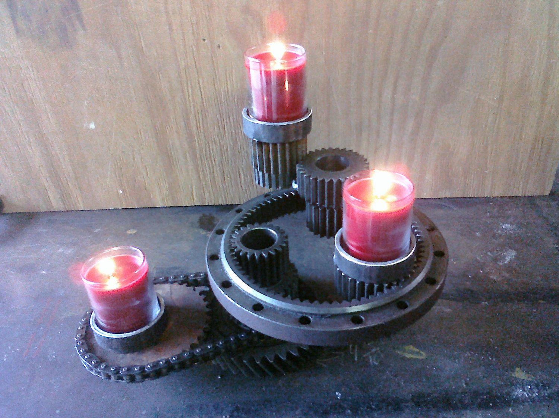 metal gear sprocket industrial candle holder centerpiece art.  BAHAHAHA I love it.