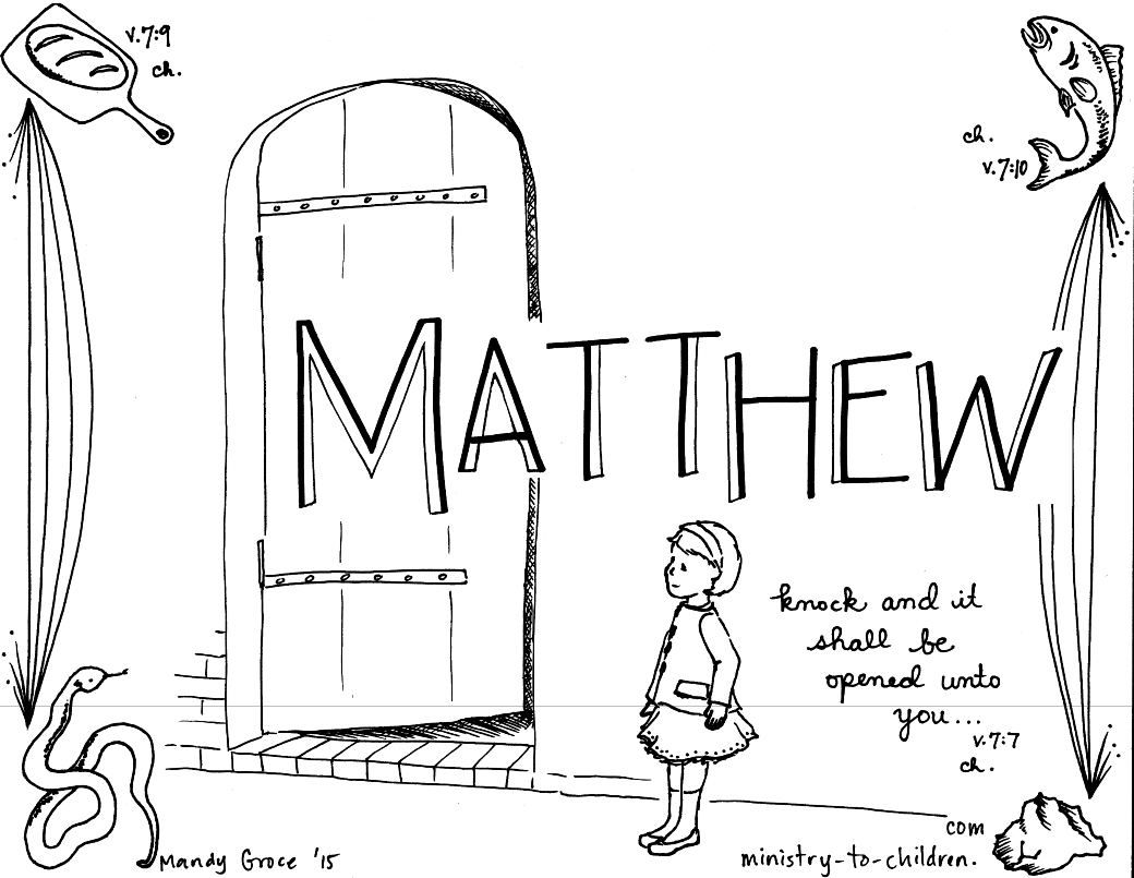 Matthew Bible Book Coloring Page Books Of The Bible Matthew
