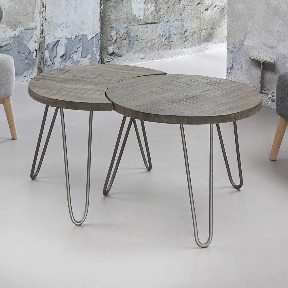 wohnzimmer couchtisch aus mangobaum massivholz rund 2. Black Bedroom Furniture Sets. Home Design Ideas