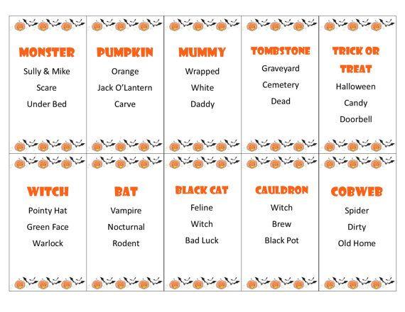 Printable Halloween Taboo Game Cards By PamsPartyPrintables