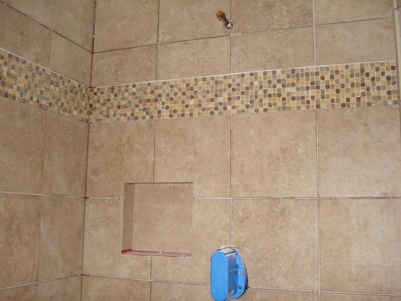 Image detail for -Glass Tile Accent in Shower   Bathroom   Pinterest ...