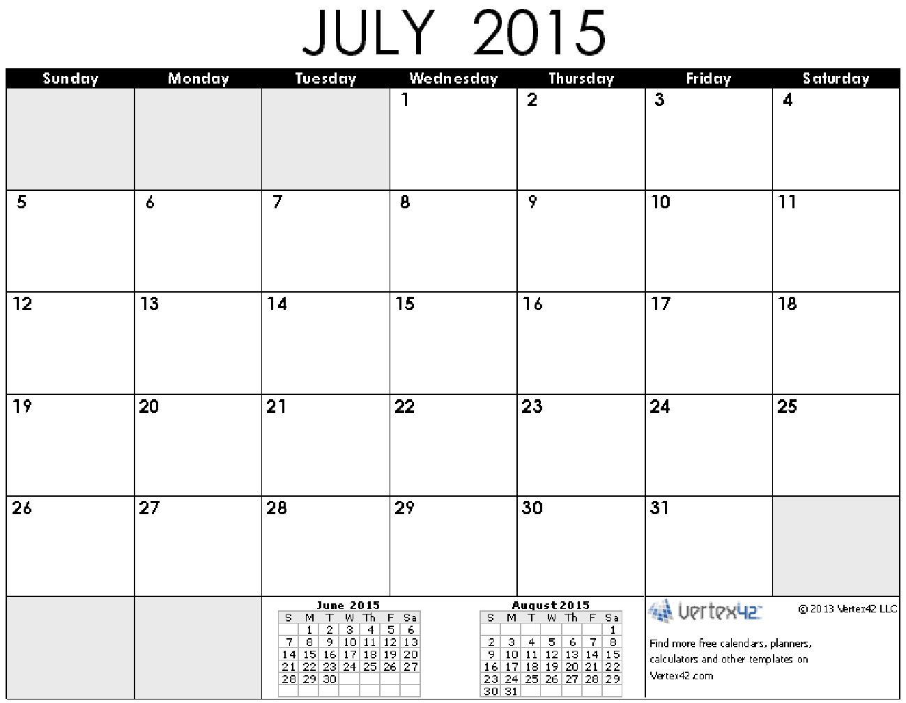 Time And Date July 2015 Calendar Printable Calendar Pinterest