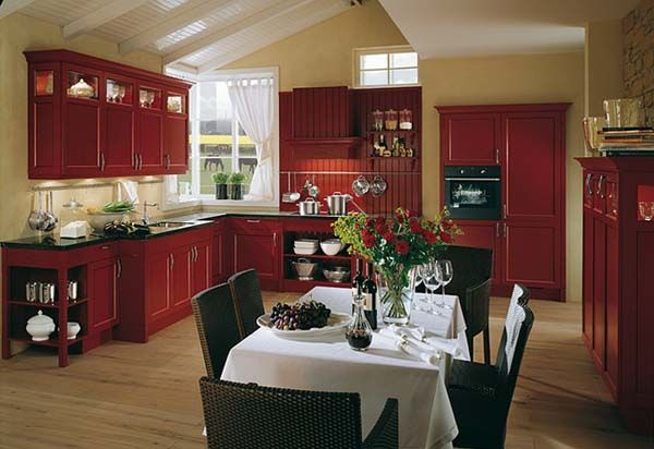 Country Kitchen Themes With Red Brown Color Interesting
