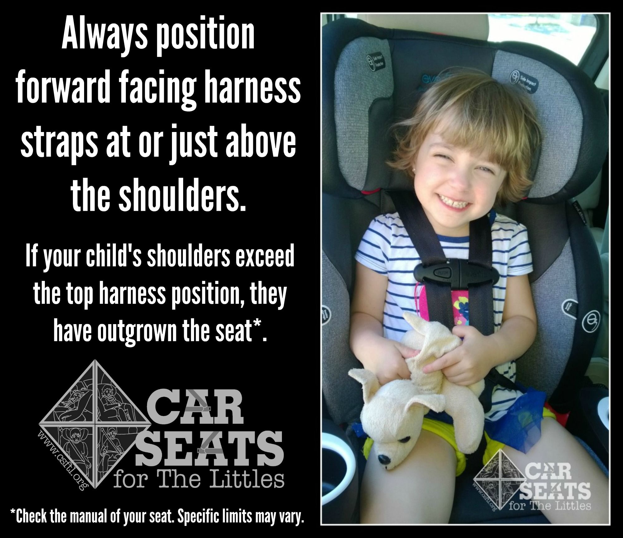 ac15200ba61 Forward facing car seat straps should be positioned at or above the  shoulders! www.csftl.org