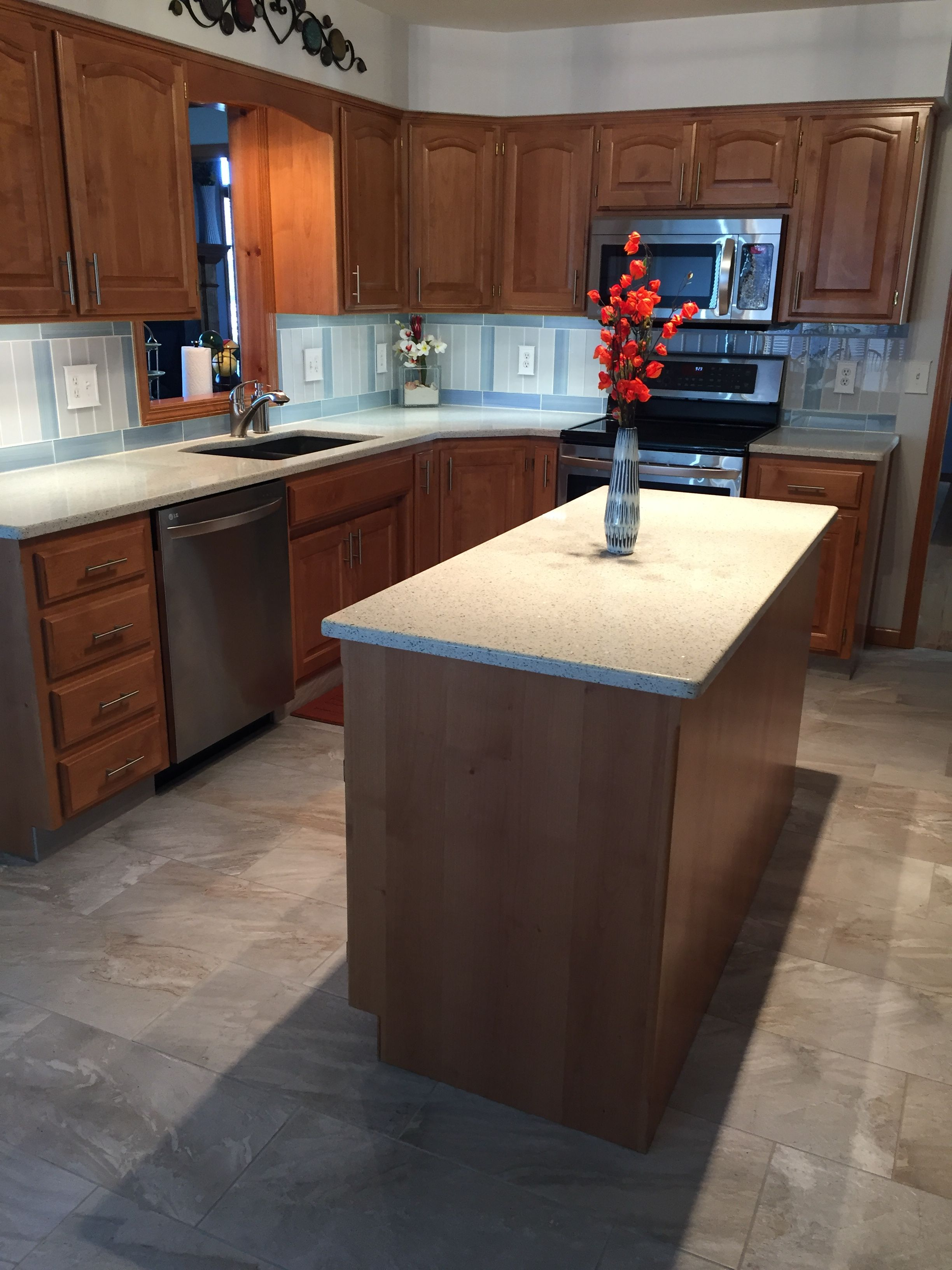 Countertops In This Kitchen Are Geos Recycled Glass Set In