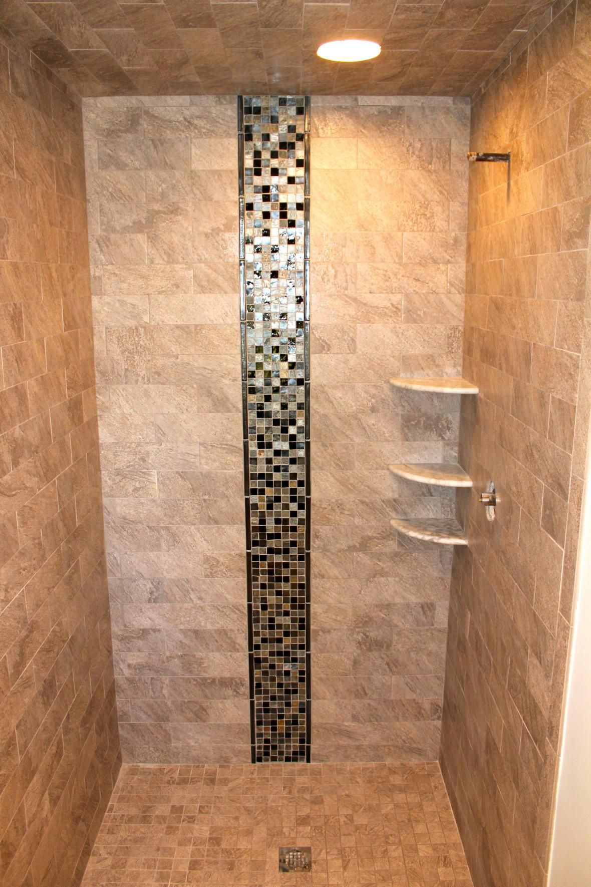 Bathroom ideas shower enclosure tile accent tile and shelves projects to try pinterest - Decorative bathroom tiles ...