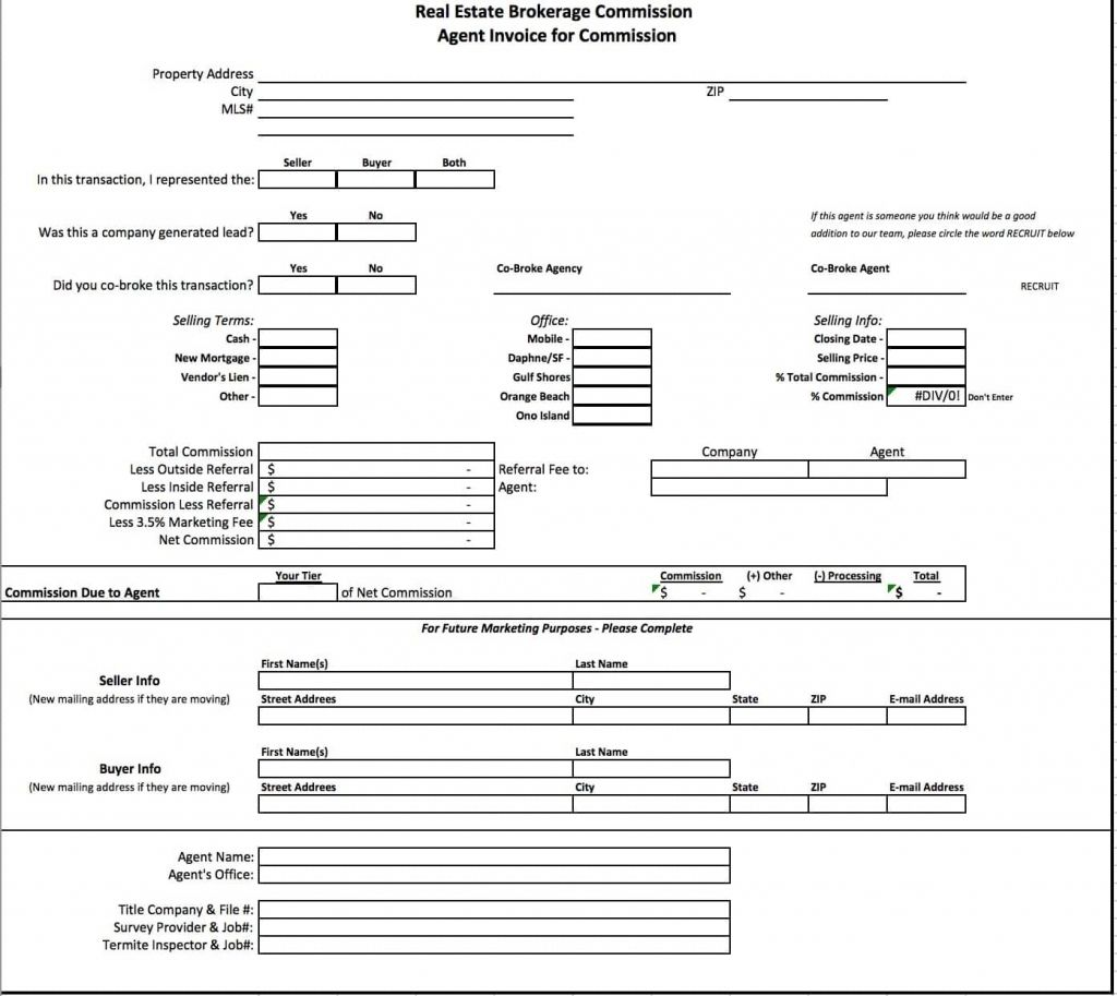 Free Real Estate Brokerage Commission Invoice Template