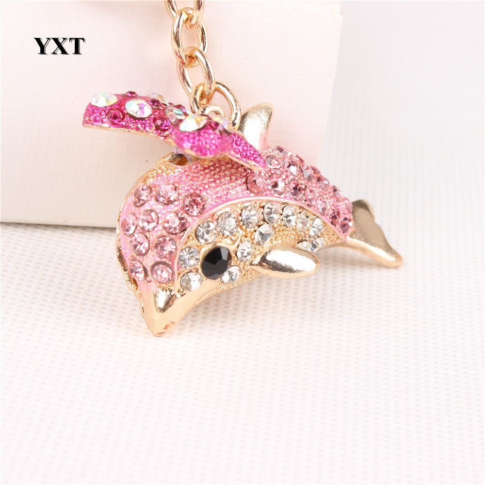 New Cute Pink Dolphin Bow Crystal Charm Pendant key ring | Pink ...