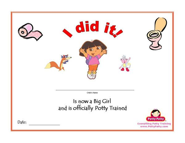 Printable Dora The Explorer Potty Training Certificate For Girls