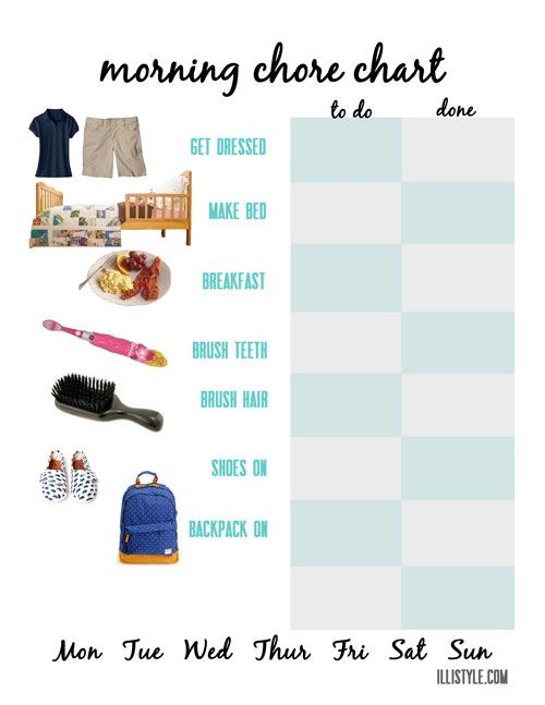 Free Printable Visual Morning Chore Chart For Young Children