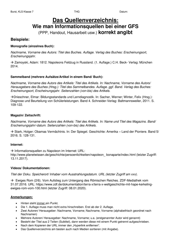 Richtig Zitieren Und Quellen Angeben Quellenverzeichnis Unterrichtsmaterial Im Fach Deutsch In 2020 Richtig Zitieren Zitieren Handout