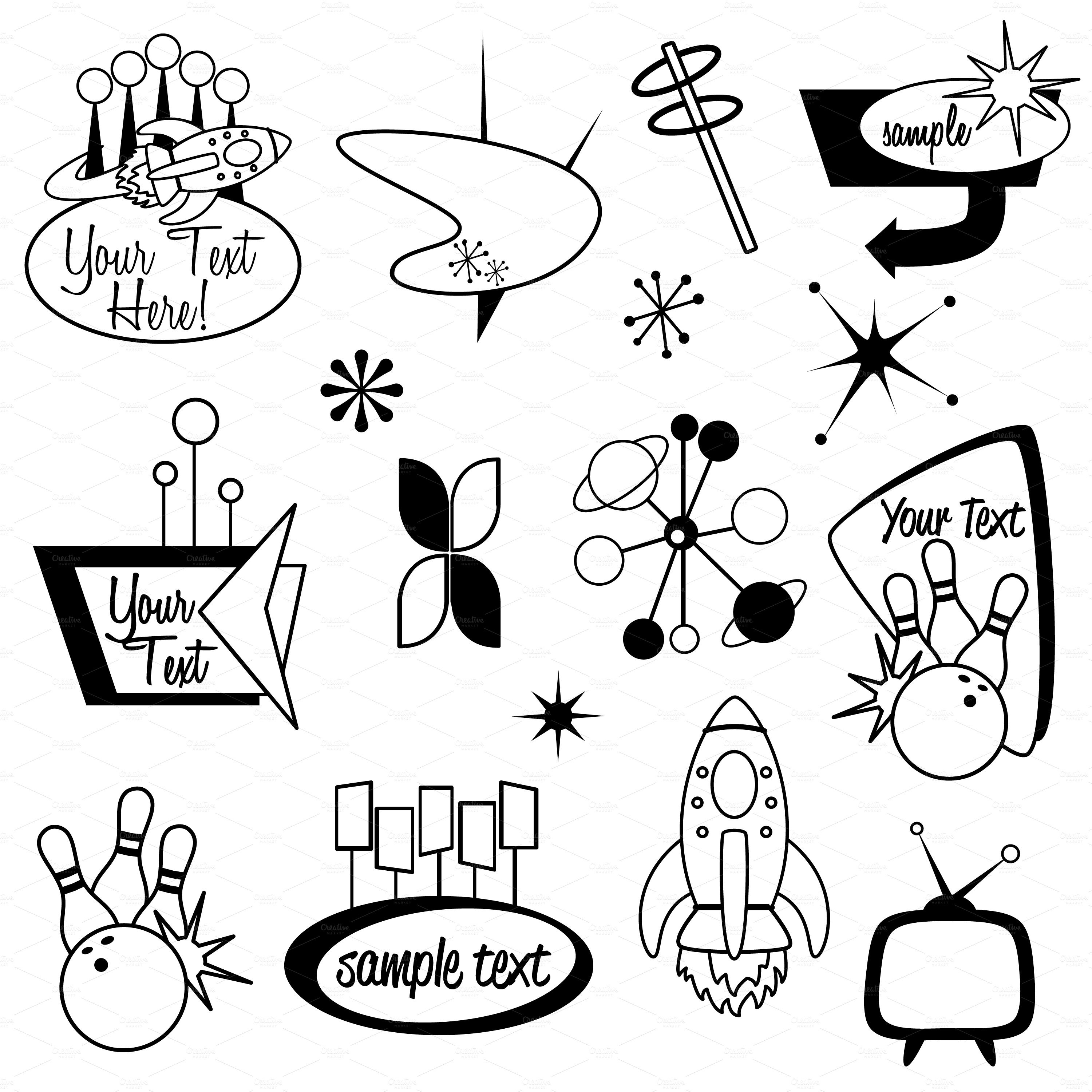 Retro Design Elements Clipart Vector