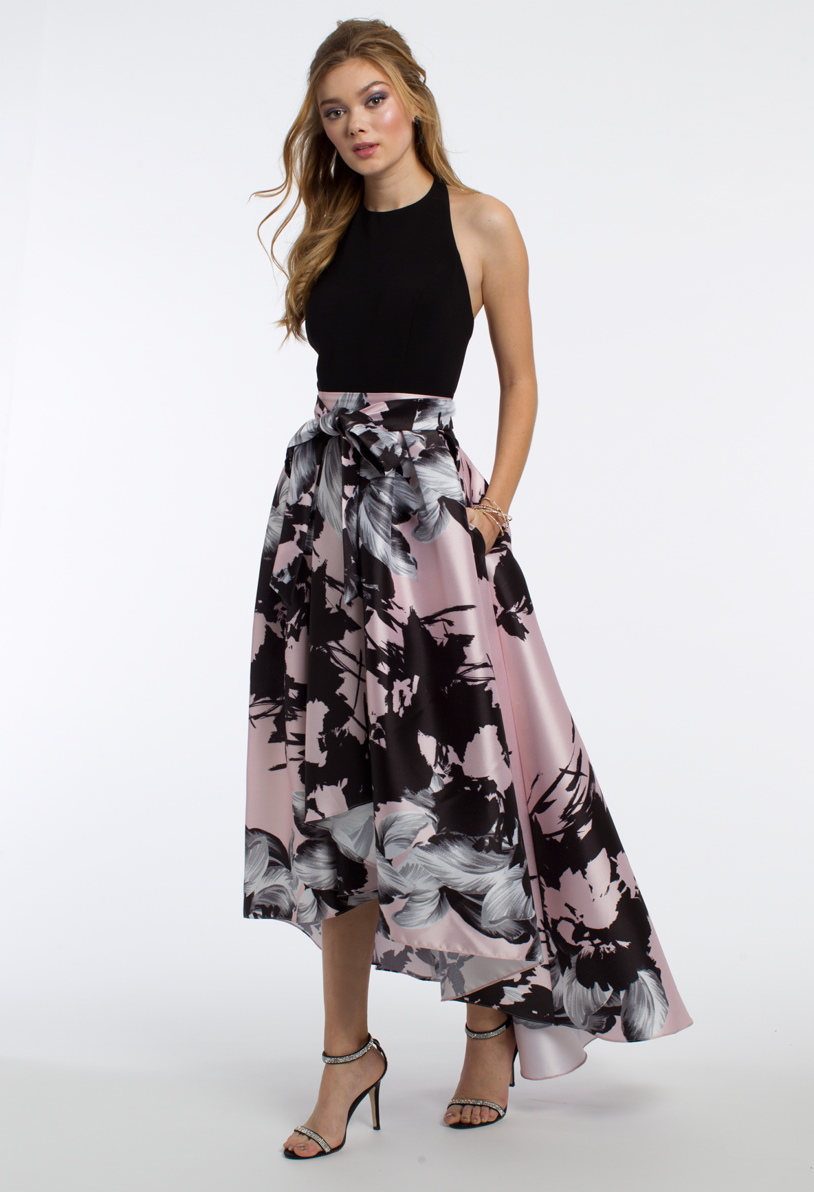 49e85ca99f This unique prom dress is super sophisticated for formal! The floral skirt,  tie waist back, high-low skirt, and side pockets on this evening dress give  it a ...