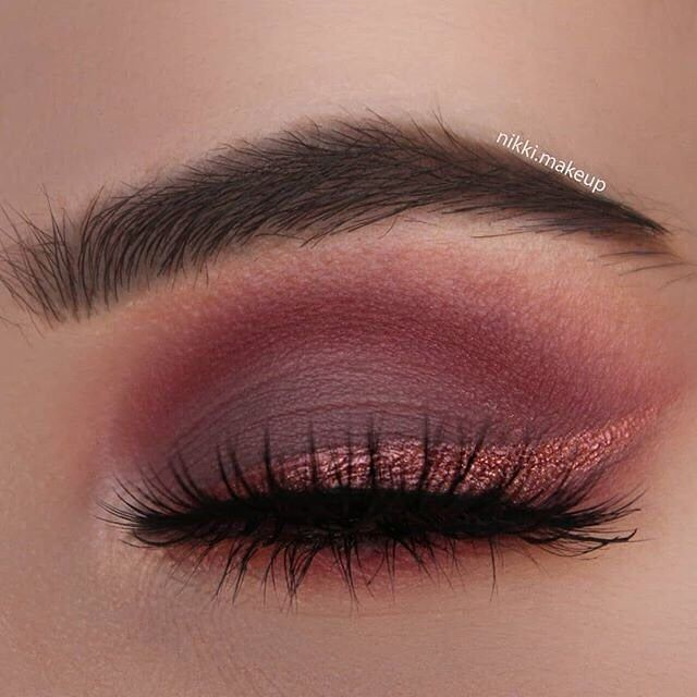 Shimmery cranberry eye makeup