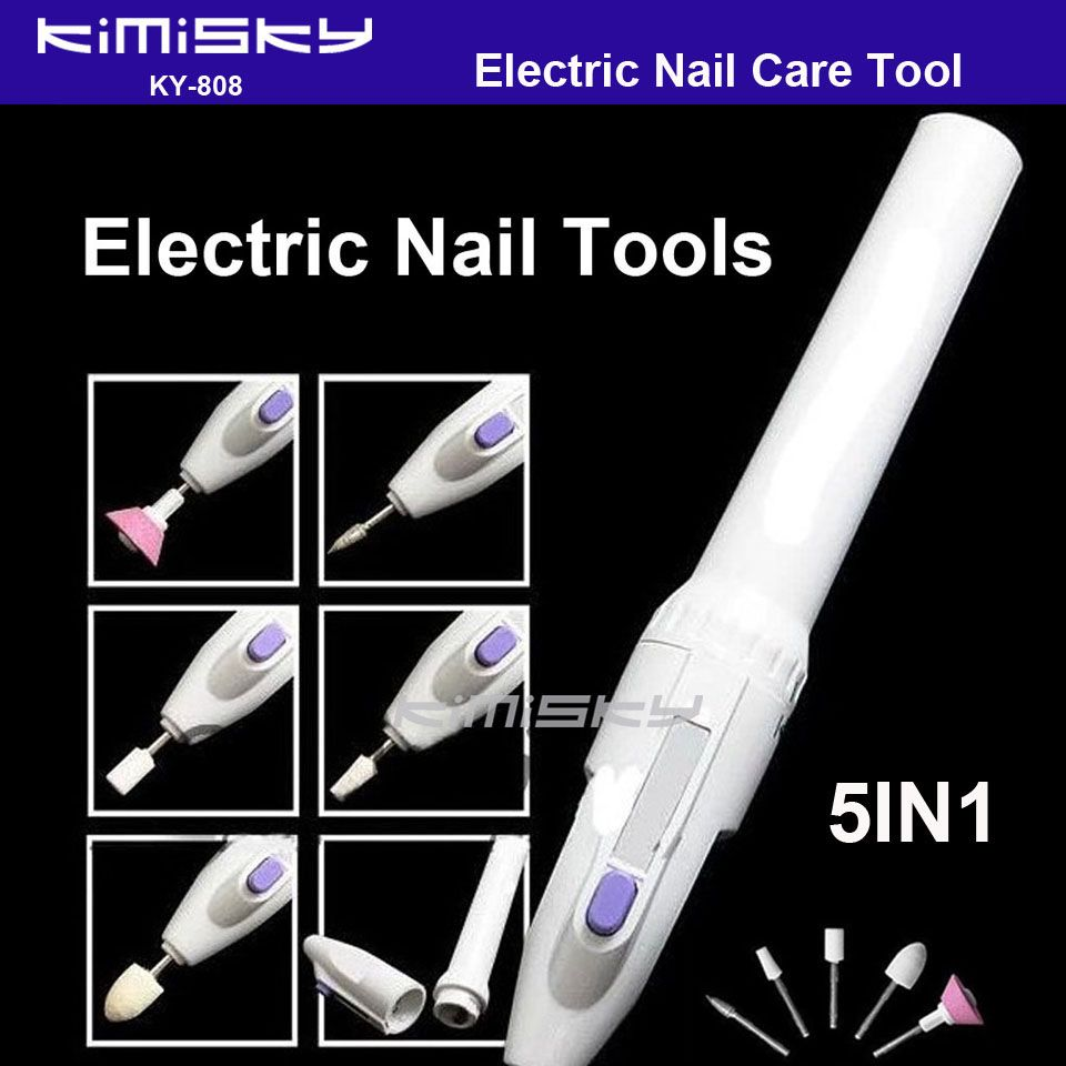 5 IN 1 Tools Nail Care Electric Machine Kit Grooming Gel Tip ...