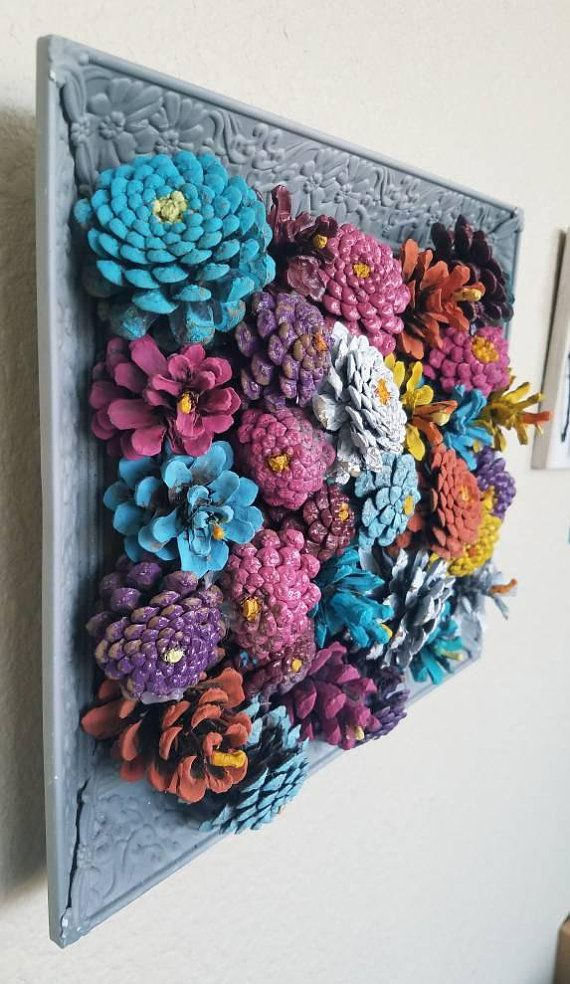 Framed pinecone flowers wall art/ decor