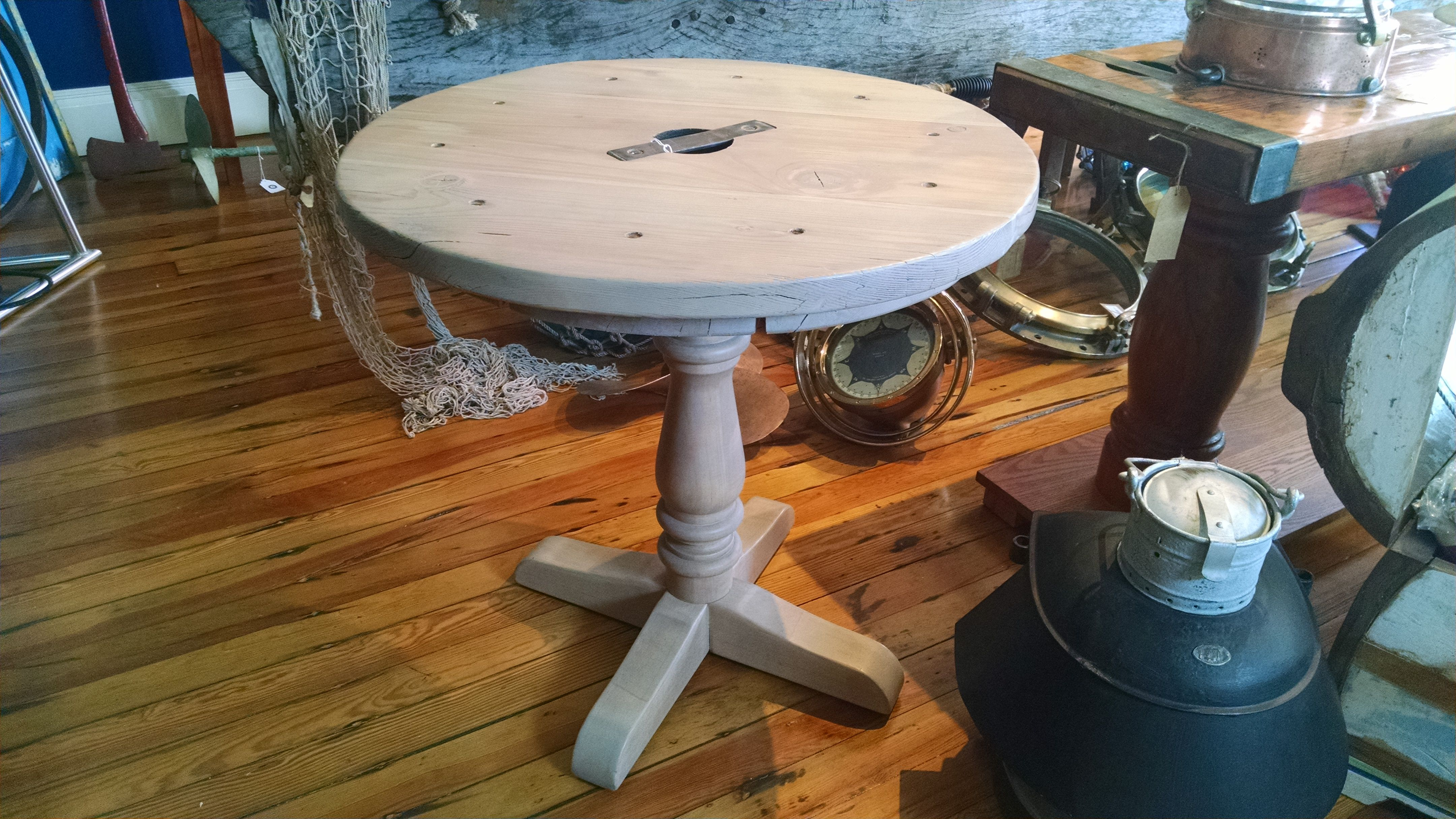 #Poker anyone? #Liberty #ship #hatch #cover #table: #Round with #driftwood stain